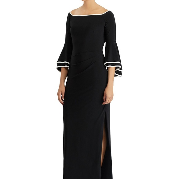 Ralph Lauren Dresses & Skirts - NWT Black Off Shoulder Bell Sleeve High Slit Gown